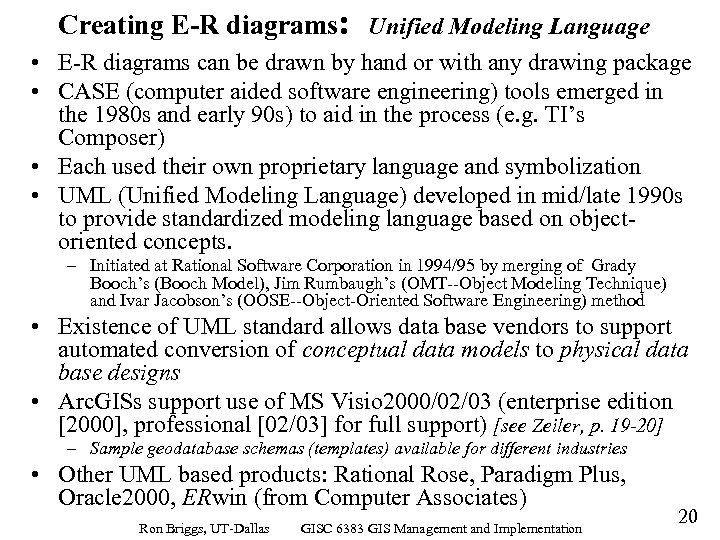 Creating E-R diagrams: Unified Modeling Language • E-R diagrams can be drawn by hand