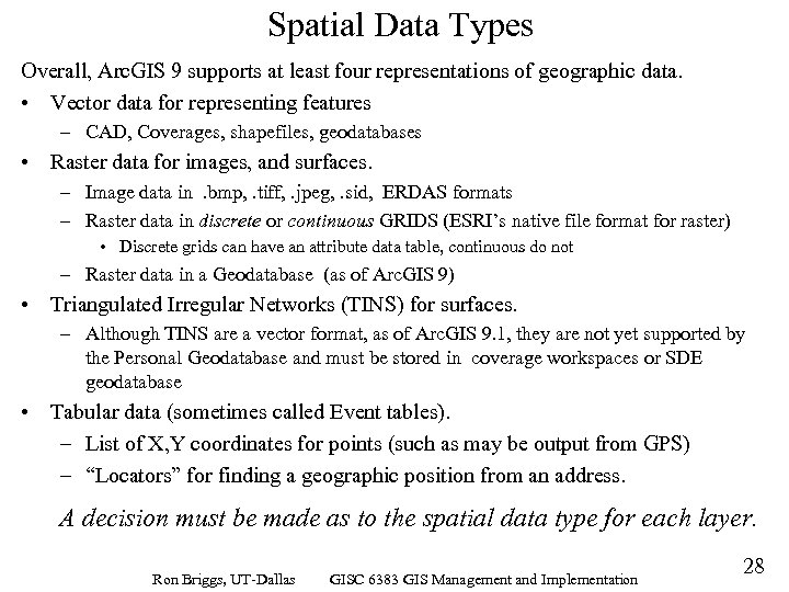 Spatial Data Types Overall, Arc. GIS 9 supports at least four representations of geographic