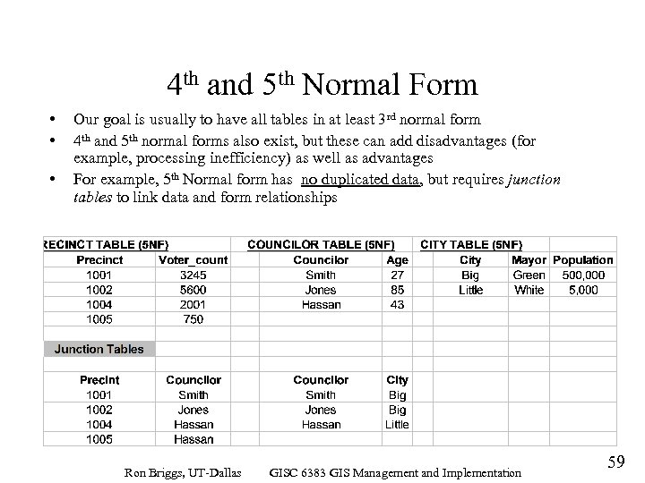 4 th and 5 th Normal Form • • • Our goal is usually