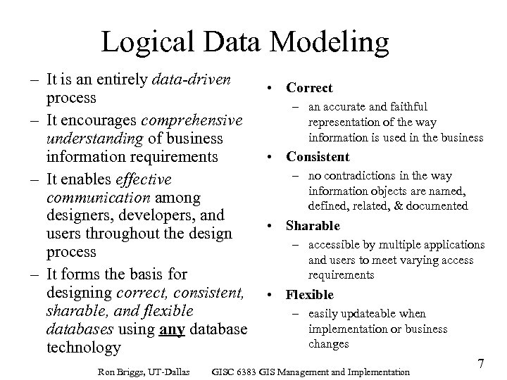 Logical Data Modeling – It is an entirely data-driven process – It encourages comprehensive
