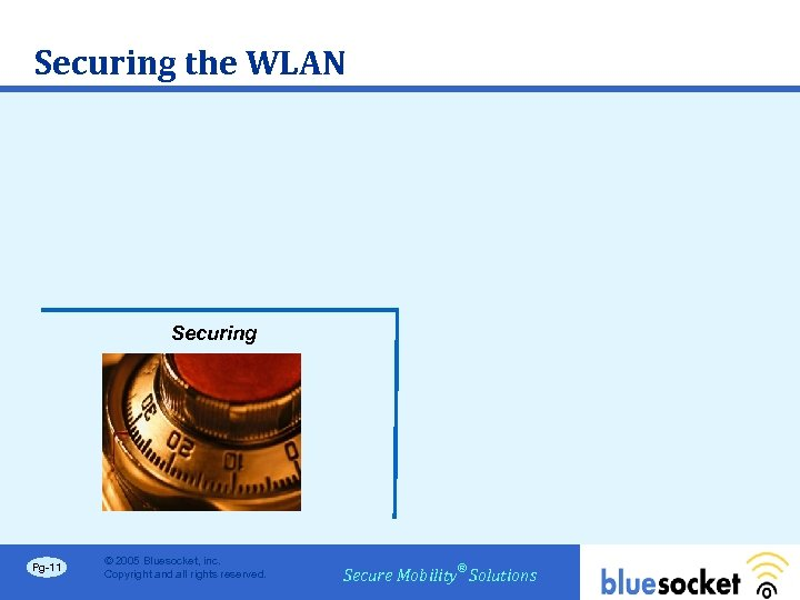 Securing the WLAN Securing Pg-11 © 2005 Bluesocket, inc. Copyright and all rights reserved.