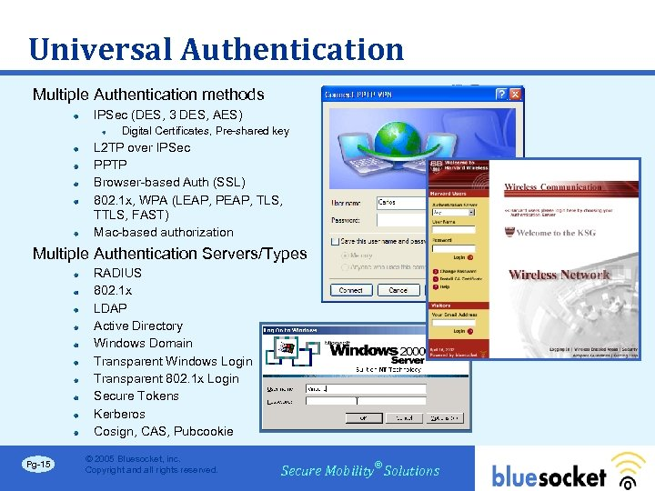 Universal Authentication Multiple Authentication methods IPSec (DES, 3 DES, AES) Digital Certificates, Pre-shared key
