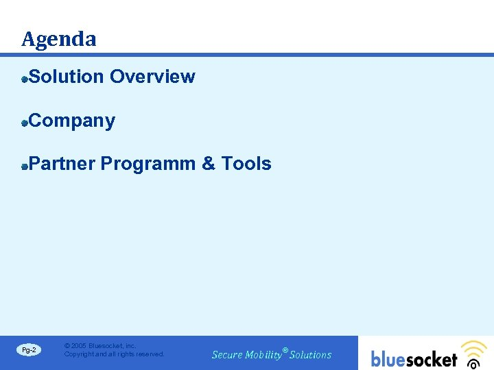 Agenda Solution Overview Company Partner Programm & Tools Pg-2 © 2005 Bluesocket, inc. Copyright