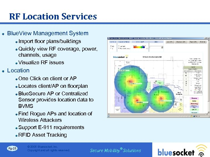 RF Location Services Blue. View Management System Import floor plans/buildings Quickly view RF coverage,