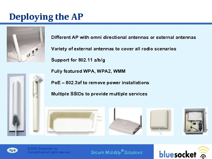 Deploying the AP Different AP with omni directional antennas or external antennas Variety of