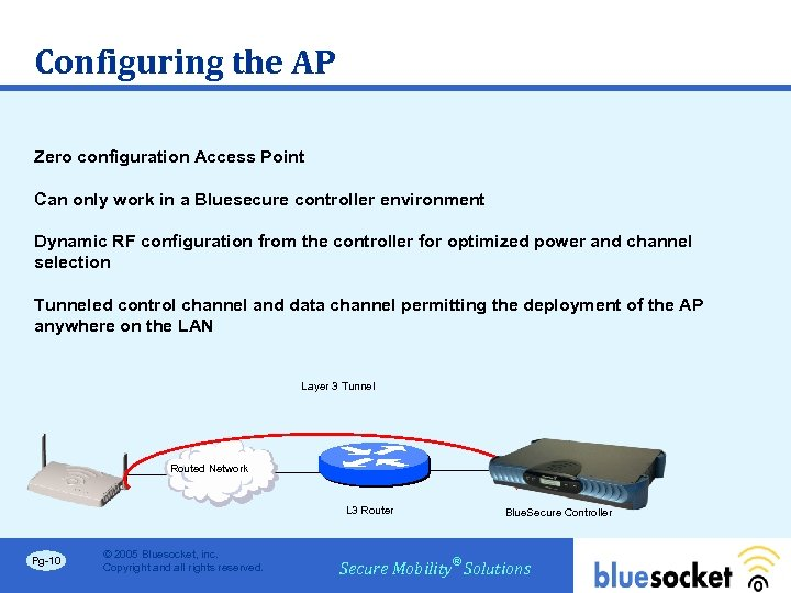 Configuring the AP Zero configuration Access Point Can only work in a Bluesecure controller
