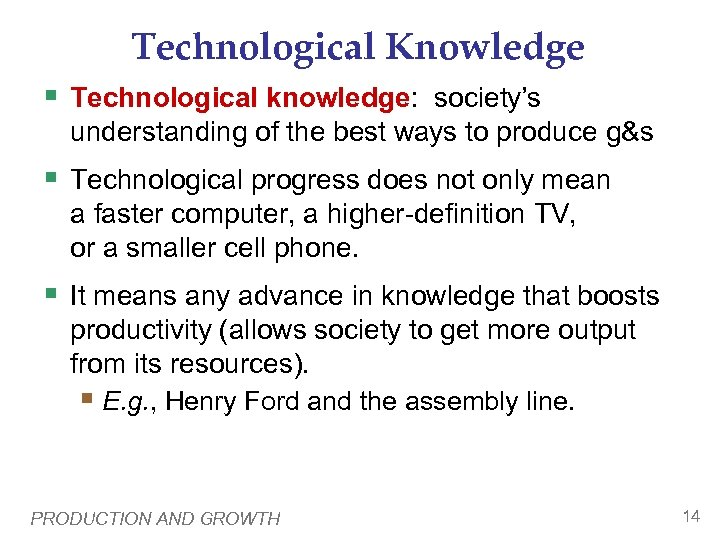 Technological Knowledge § Technological knowledge: society's understanding of the best ways to produce g&s
