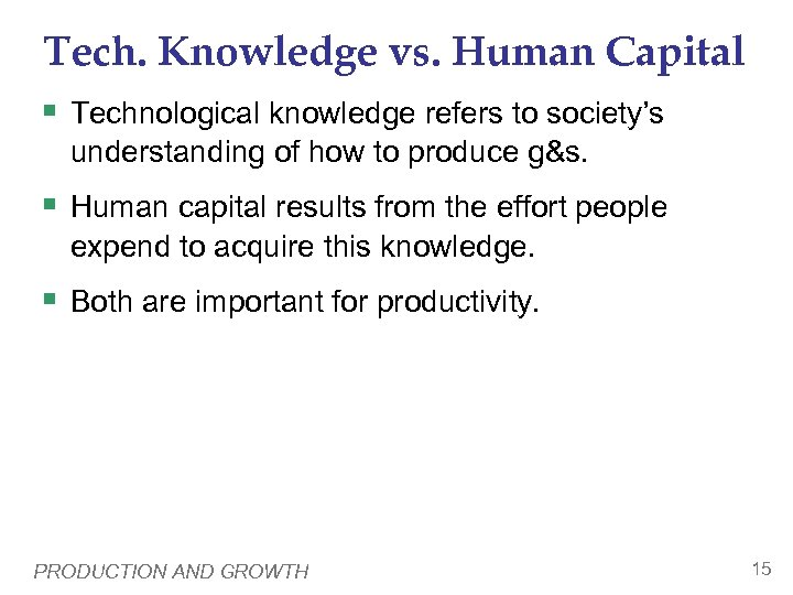 Tech. Knowledge vs. Human Capital § Technological knowledge refers to society's understanding of how
