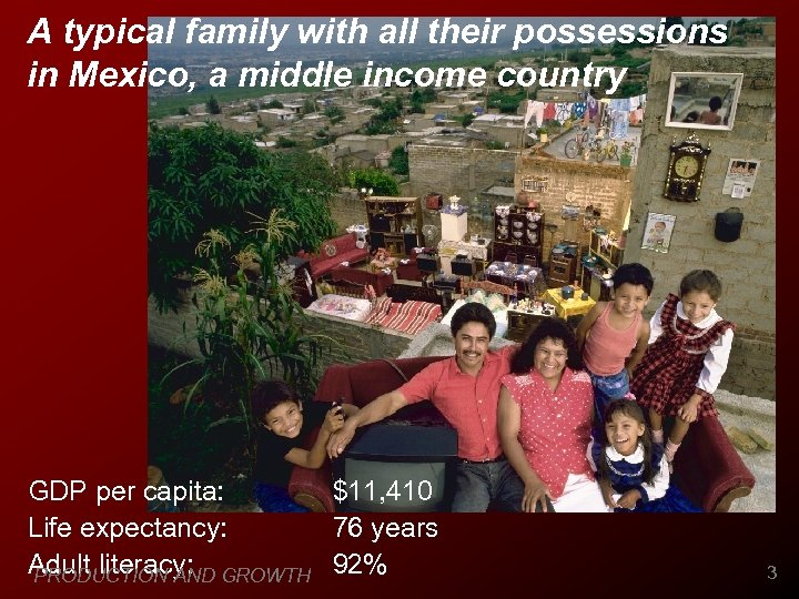 A typical family with all their possessions in Mexico, a middle income country GDP