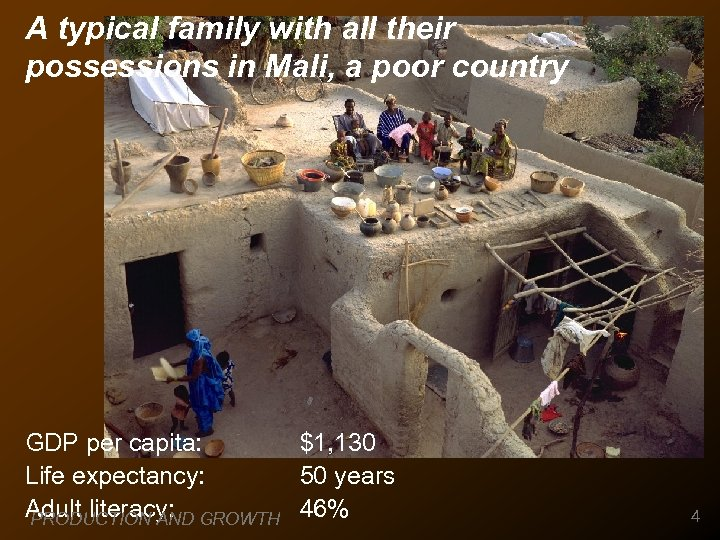 A typical family with all their possessions in Mali, a poor country GDP per