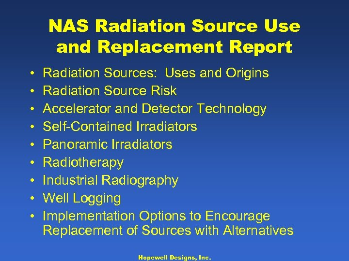 NAS Radiation Source Use and Replacement Report • • • Radiation Sources: Uses and