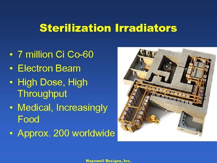 Sterilization Irradiators • 7 million Ci Co-60 • Electron Beam • High Dose, High