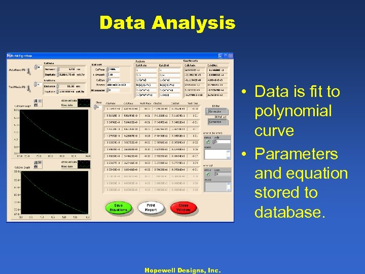 Data Analysis • Data is fit to polynomial curve • Parameters and equation stored