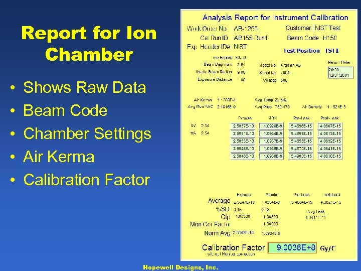 Report for Ion Chamber • • • Shows Raw Data Beam Code Chamber Settings
