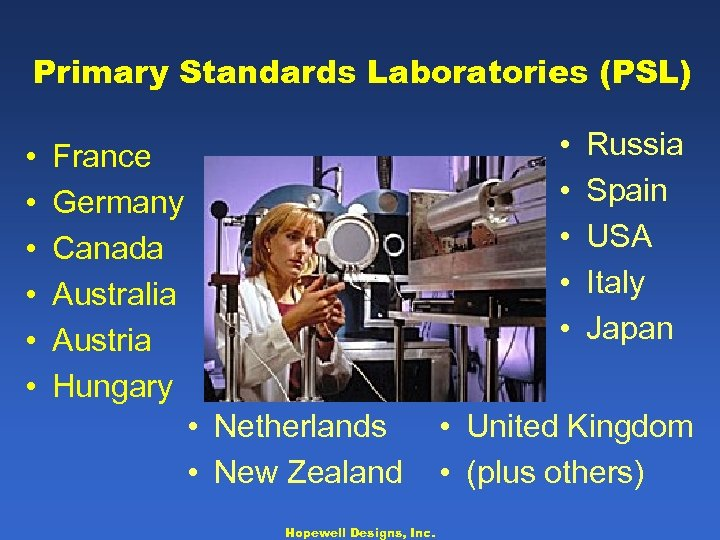 Primary Standards Laboratories (PSL) • • • France Germany Canada Australia Austria Hungary •