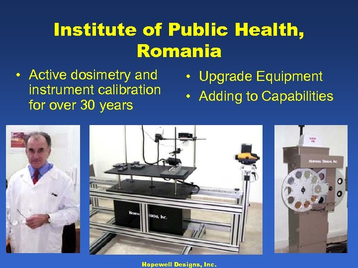 Institute of Public Health, Romania • Active dosimetry and instrument calibration for over 30