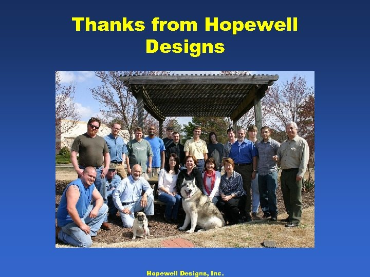 Thanks from Hopewell Designs, Inc.