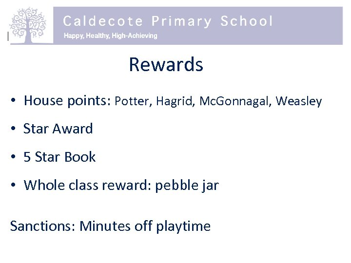 Rewards • House points: Potter, Hagrid, Mc. Gonnagal, Weasley • Star Award • 5