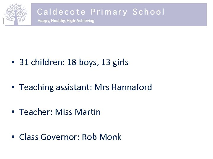 • 31 children: 18 boys, 13 girls • Teaching assistant: Mrs Hannaford •
