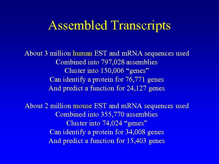 Assembled Transcripts About 3 million human EST and m. RNA sequences used Combined into
