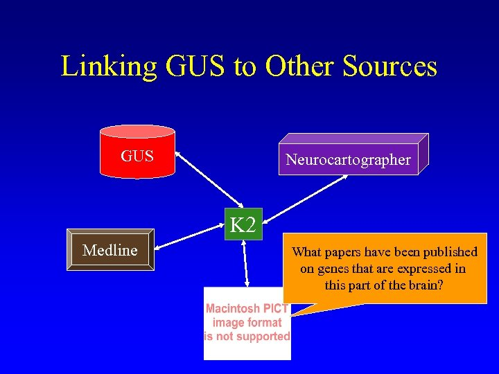 Linking GUS to Other Sources GUS Neurocartographer K 2 Medline What papers have been