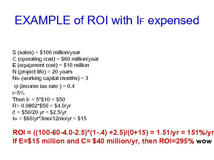 EXAMPLE of ROI with IF expensed S (sales) = $100 million/year C (operating cost)