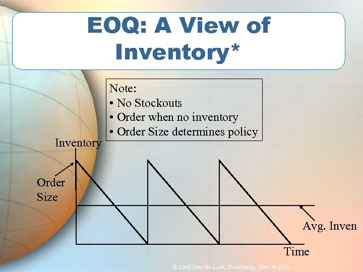 EOQ: A View of Inventory* Inventory Note: • No Stockouts • Order when no