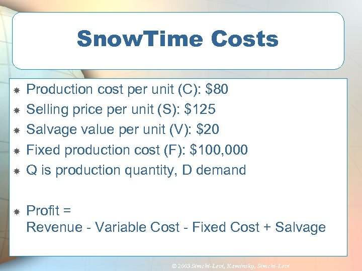 Snow. Time Costs Production cost per unit (C): $80 Selling price per unit (S):