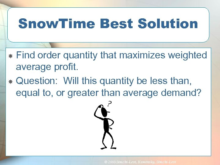 Snow. Time Best Solution Find order quantity that maximizes weighted average profit. Question: Will