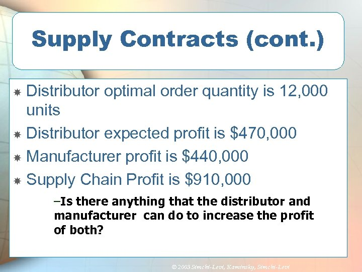 Supply Contracts (cont. ) Distributor optimal order quantity is 12, 000 units Distributor expected
