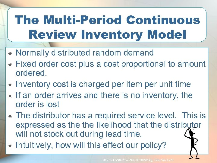 The Multi-Period Continuous Review Inventory Model Normally distributed random demand Fixed order cost plus