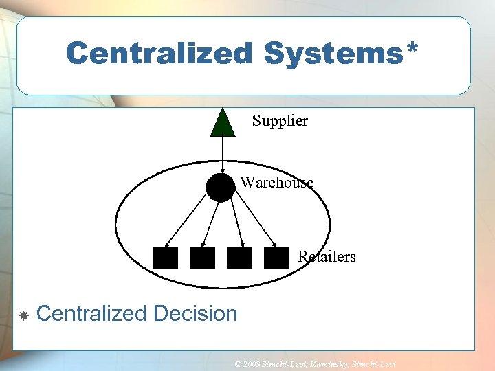 Centralized Systems* Supplier Warehouse Retailers Centralized Decision © 2003 Simchi-Levi, Kaminsky, Simchi-Levi
