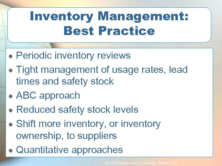 Inventory Management: Best Practice Periodic inventory reviews Tight management of usage rates, lead times