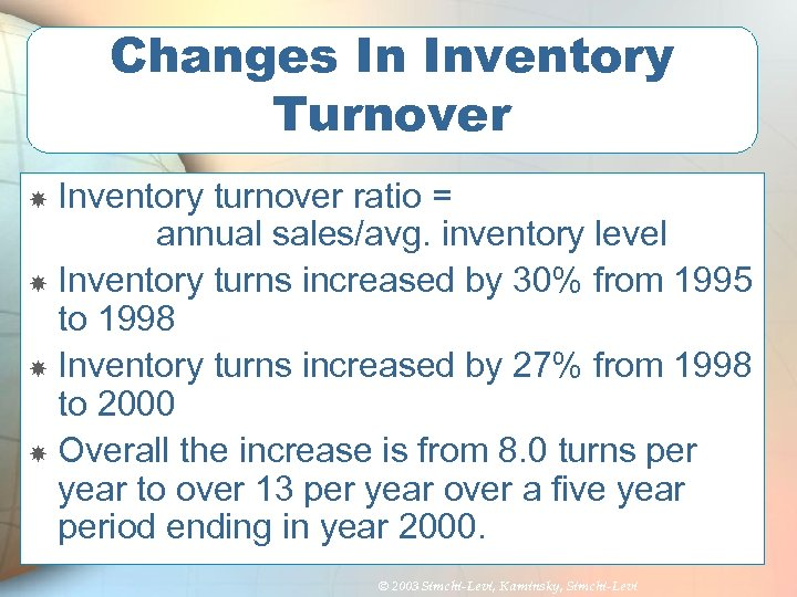 Changes In Inventory Turnover Inventory turnover ratio = annual sales/avg. inventory level Inventory turns