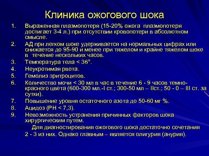 Клиника ожогового шока 1. 2. 3. 4. 5. 6. 7. 8. 9. Выраженная плазмопотеря
