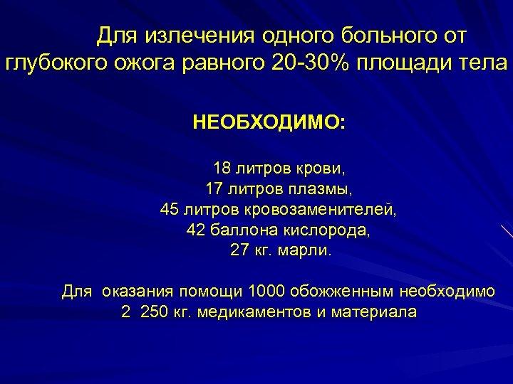 Для излечения одного больного от глубокого ожога равного 20 -30% площади тела НЕОБХОДИМО: 18