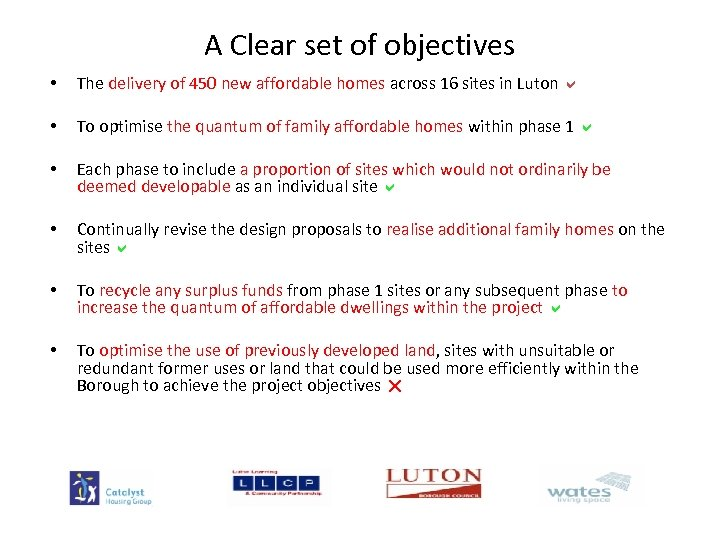 A Clear set of objectives • The delivery of 450 new affordable homes across