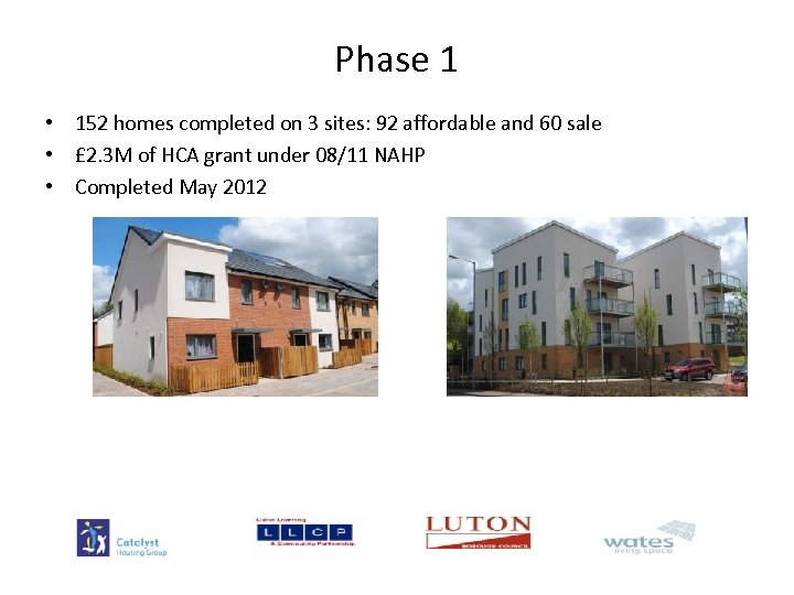 Phase 1 • 152 homes completed on 3 sites: 92 affordable and 60 sale