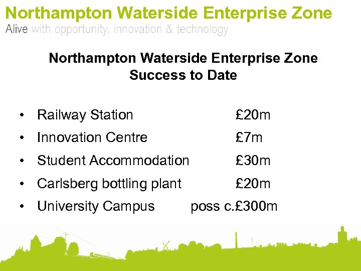 Northampton Waterside Enterprise Zone Success to Date • Railway Station £ 20 m •