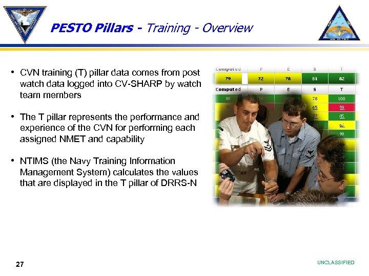 PESTO Pillars - Training - Overview • CVN training (T) pillar data comes from