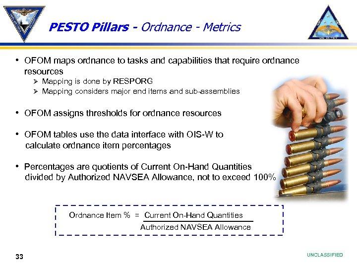 PESTO Pillars - Ordnance - Metrics • OFOM maps ordnance to tasks and capabilities