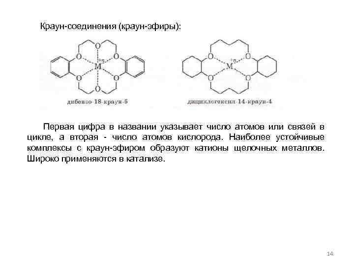 Краун-соединения (краун-эфиры): Первая цифра в названии указывает число атомов или связей в цикле, а