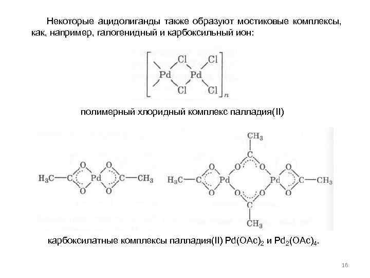 Некоторые ацидолиганды также образуют мостиковые комплексы, как, например, галогенидный и карбоксильный ион: полимерный хлоридный