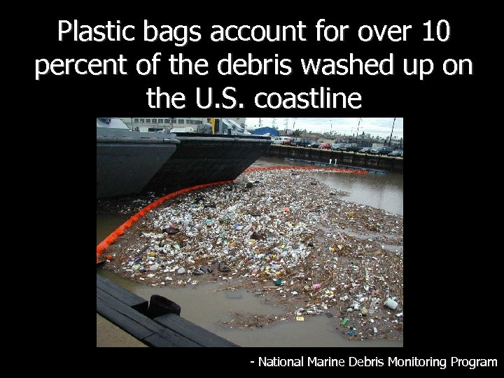 Plastic bags account for over 10 percent of the debris washed up on the