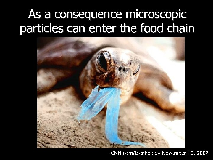 As a consequence microscopic particles can enter the food chain - CNN. com/tecnhology November