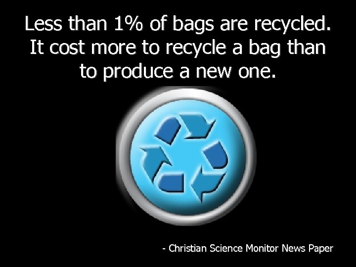 Less than 1% of bags are recycled. It cost more to recycle a bag