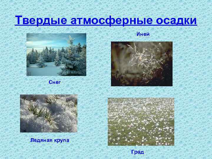 Твердые атмосферные осадки Иней Снег Ледяная крупа Град