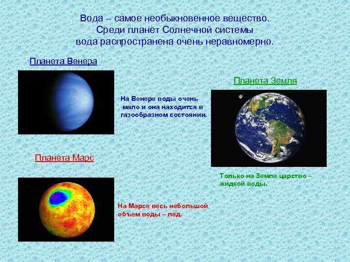 Вода – самое необыкновенное вещество. Среди планет Солнечной системы вода распространена очень неравномерно. Планета