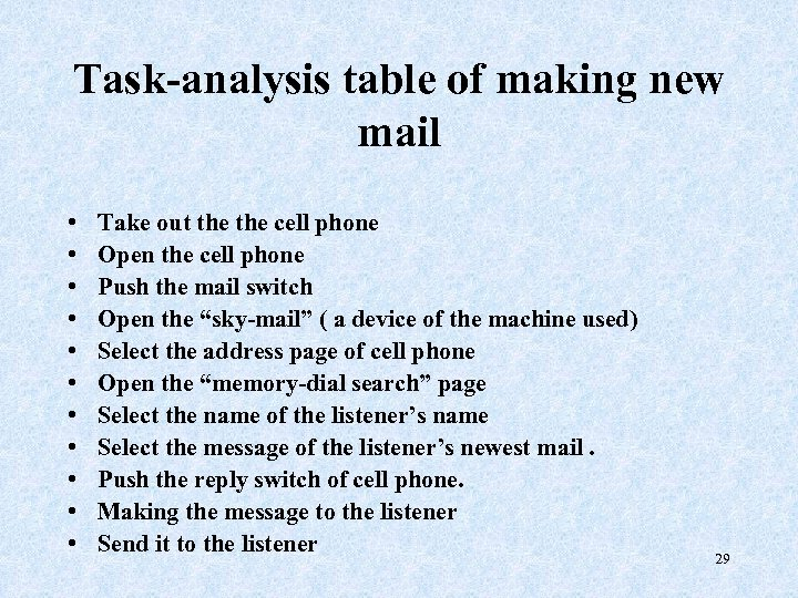 Task-analysis table of making new mail • • • Take out the cell phone