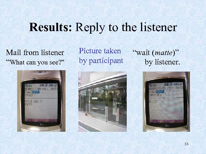 "Results: Reply to the listener Mail from listener ""What can you see? "" Picture"